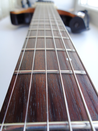 Electric Guitar Fretboard reverse perspective Stock Photo