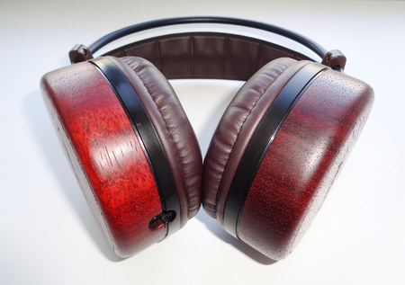 Vintage Wooden Headphones perspective