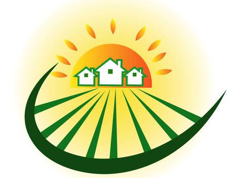 Farm houses with sun