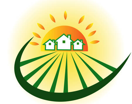 Farm houses with sun