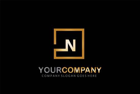 N Letter Logo Design Golden Concept