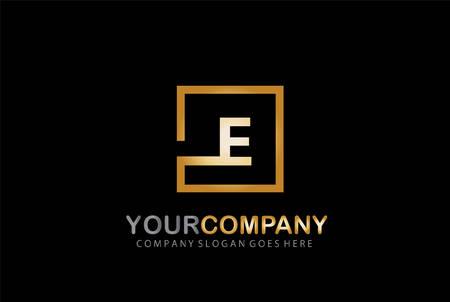 E Letter Logo Design Golden Concept