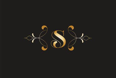 Elegant Letter S Golden Design.Creative Monogram Logo