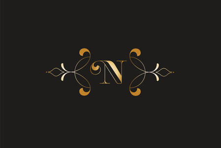 Elegant Letter N Golden Design.Creative Monogram Logo