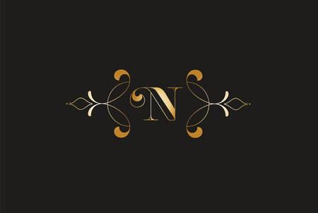 Elegant Letter N Golden Design.Creative Monogram Logo