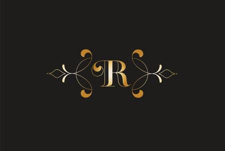 Elegant Letter R Golden Design.Creative Monogram Logo Ilustrace