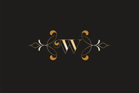 Elegant Letter W Golden Design.Creative Monogram Logo Ilustracja