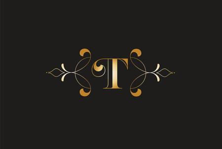 Elegant Letter T Golden Design.Creative Monogram Logo