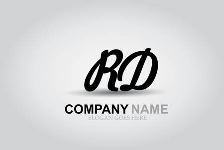 Hand drawn vector letters R and D style alphabet font.