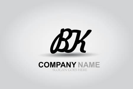 Vector Hand Drawn Letter BK Style Alphabet Font.