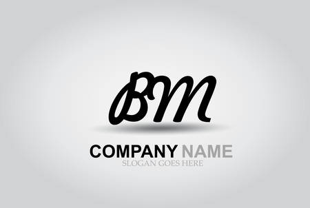 Vector Hand Drawn Letter BM Style Alphabet Font.