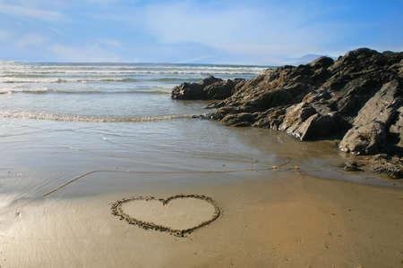 Heart in the sand Archivio Fotografico