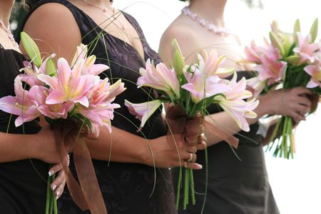 bridesmaids standing at ceremony