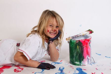 happy making a painted mess Stock Photo