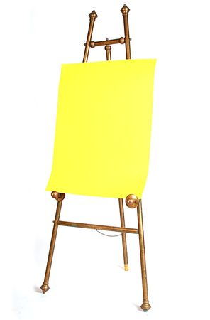 antique brass artist easel with bright yellow paper