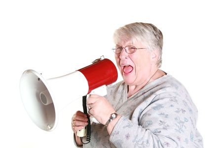 A grandmother shouting into a megaphone.
