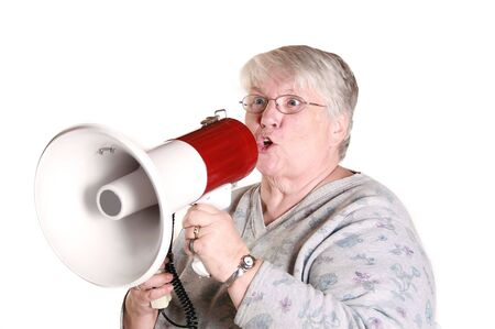A grandmother yelling into a bullhorn.