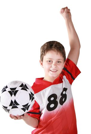 A child who has won his soccer game.