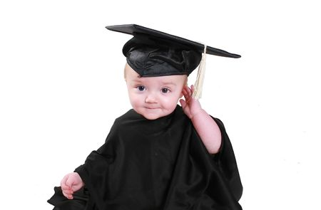 Babys show growth and potential early one.  Wearing a graduation gown and cap.