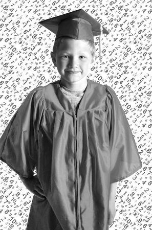Lindo retrato de graduaci�n con los n�meros de fondo