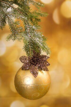 Gold and shiny Christmas decoration Stock Photo