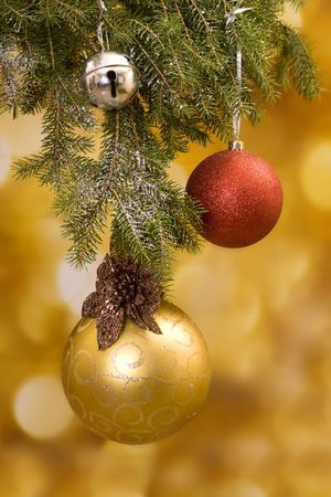 Christmas with gold and red decoration Archivio Fotografico