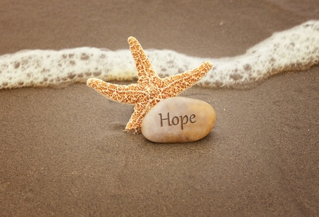 Calming image of hope  Starfish and a rock by the ocean waves Archivio Fotografico