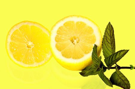 Great summer fruit combination, lemons and mint leaves