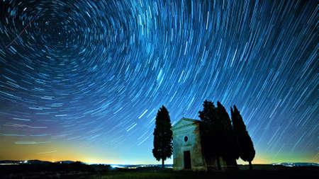 Fabulous Starry Sky. Time Lapse image. Beautiful Sky in nights. Фото со стока