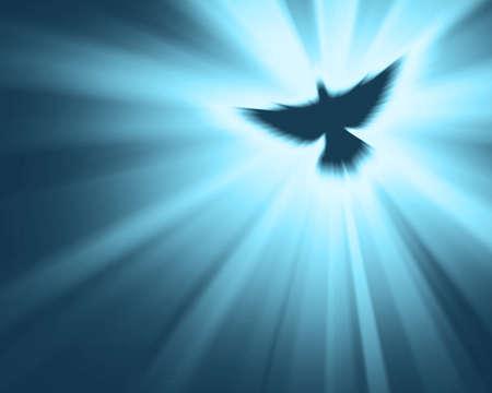 Christian dove with bright sun rays Archivio Fotografico