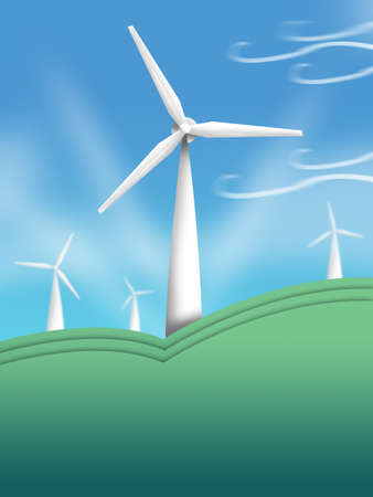 Wind Turbine Illustration  Think Green and Nature Concept  illustration