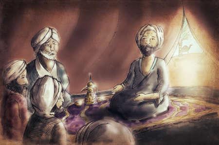 색상 성경 시대에 아랍 남성 스토리 텔링 내부 텐트 그림 개념 스톡 콘텐츠