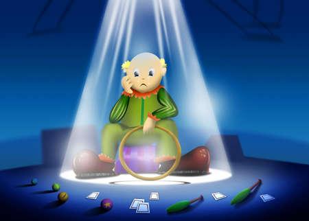 Sad Clown Illustration with Spotlight in Circus stage   illustration