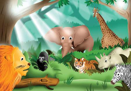 ekosistem: Jungle Çizim Buluşması Vahşi Hayvanlar Stok Fotoğraf