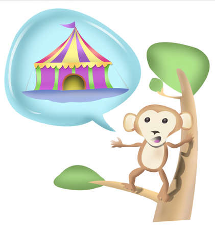 Monkey on Tree with Speech Bubble of Circus Tent Isolated in White photo