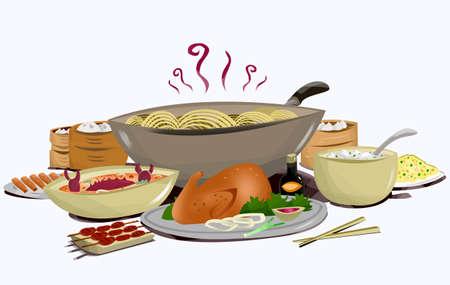 그림 흰색 배경에 고립 된 젓가락으로 아시아 요리