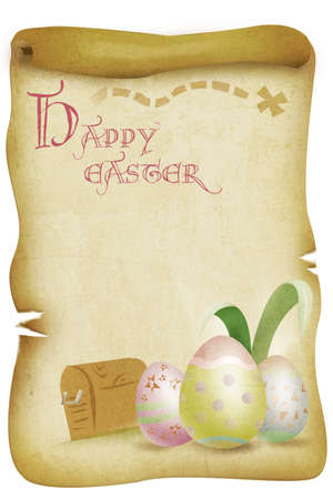 easter sunday: Easter Eggs on a Vintage Burned Paper  Easter Sunday Concept Stock Photo
