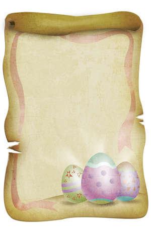 vintage parchement: Easter Eggs on a Vintage Burned Paper  Easter Sunday Concept Stock Photo