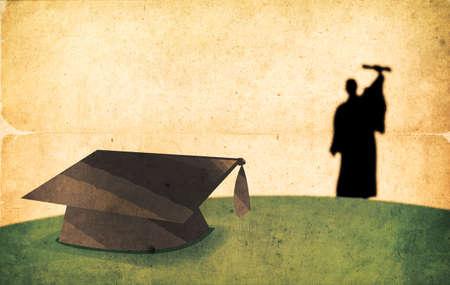 laurea: Vintage Graduation Day Concetto strutturato Silhouette di un laureato Walking