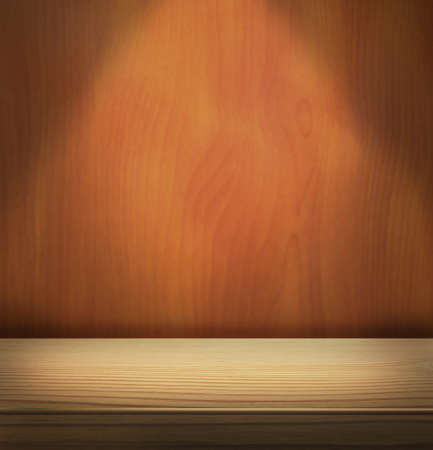 Spotlight on wooden stage and wall photo