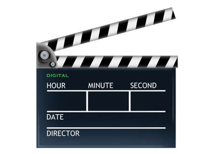 Movie making clapper on isolated white background photo