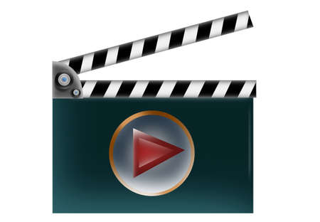 bollywood: Film Clapper with play button on isolated white background