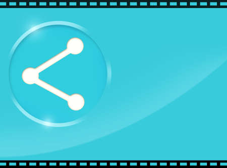 social awareness symbol: Share Button with Film Strip and Blue Space Stock Photo
