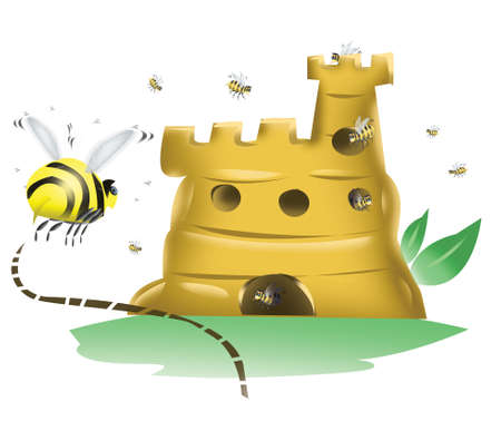 A Bee flying to its Beehive Castle photo