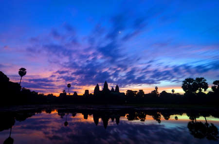 siem reap: Sunrise at Angkor Wat temple complex in Cambodia