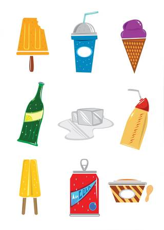Cold Drinks and Frozen Foods  Editable  Vector