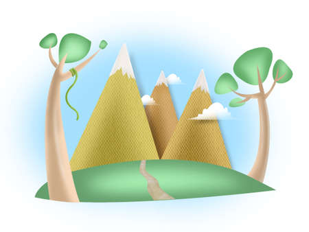 Mountain Ranges and Tundra illustration illustration