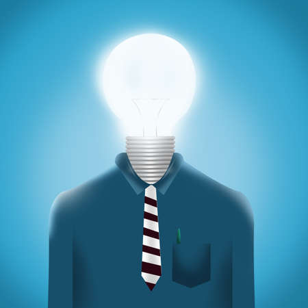 Light bulb head in business suit