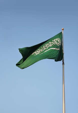 サウジアラビアの国旗振って屋外の実像