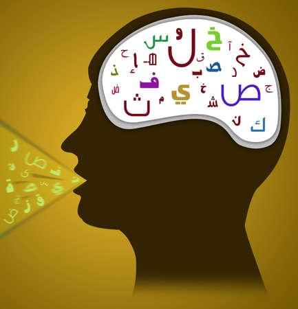 arabische letters: Hoofd met Arabisch alfabet met Arabische Speech